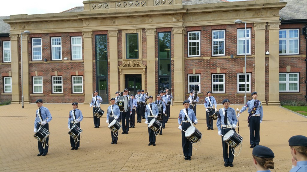 Squadron band percussion section