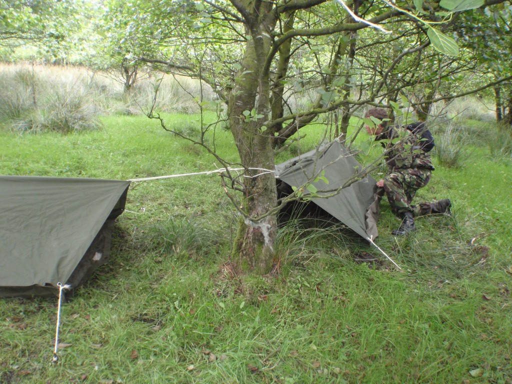 Shelter building in the training area