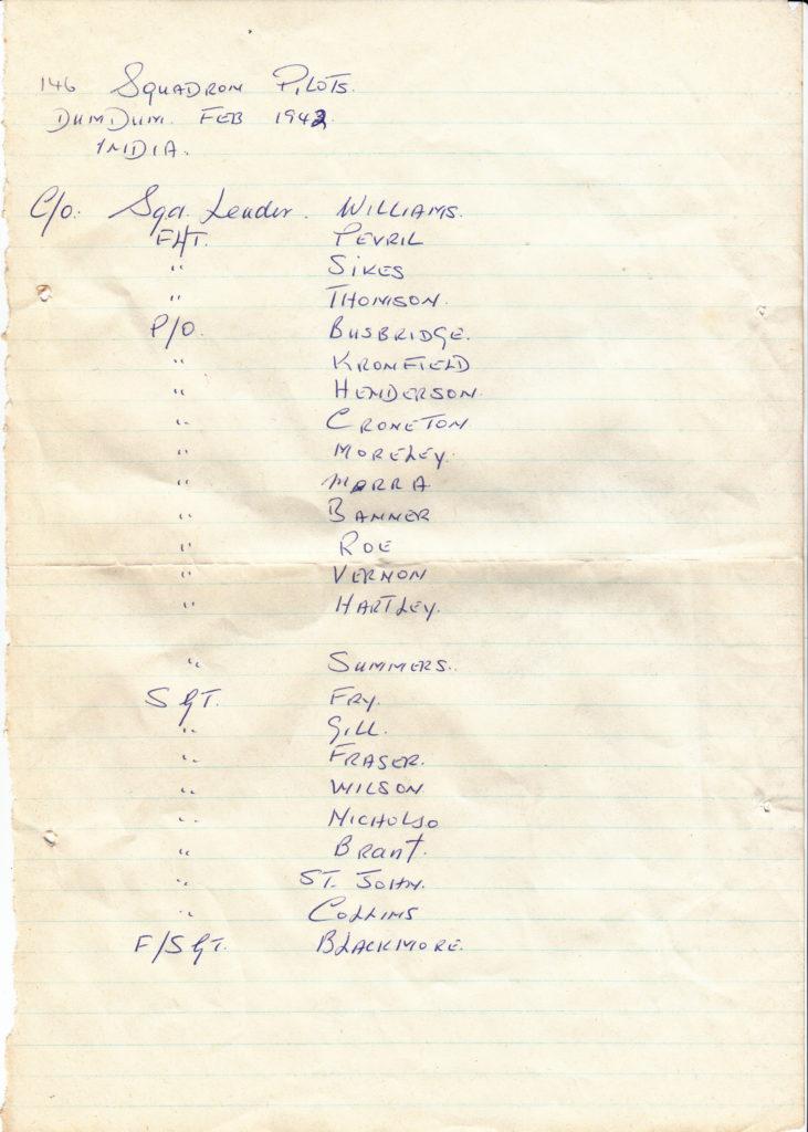 146 Squadron RAF Group Photo Names